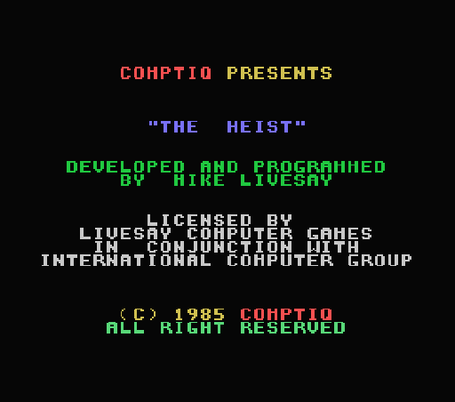 Обложка игры Heist, The (Machines with Software eXchangeability - msx1)