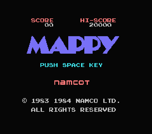 Обложка игры Mappy (Machines with Software eXchangeability - msx1)