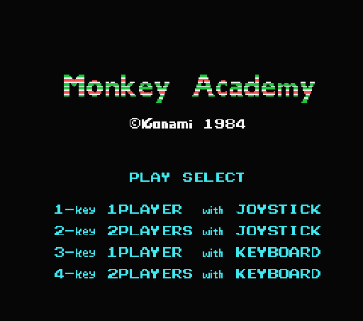 Обложка игры Monkey Academy (Machines with Software eXchangeability - msx1)